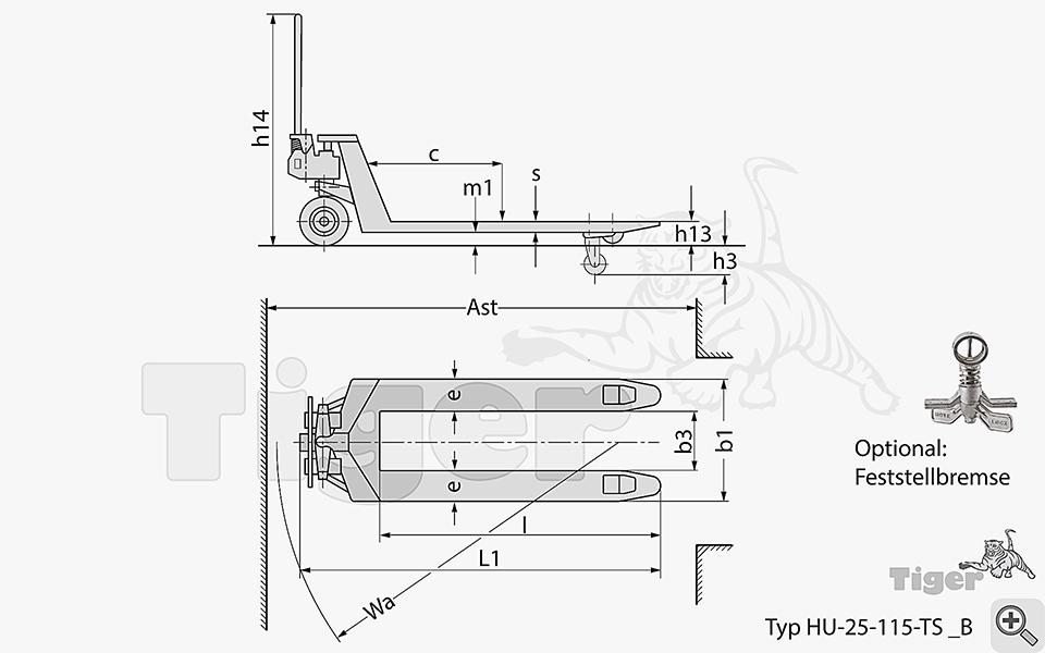 standard hubwagen traglast 2 5t gabell nge mm. Black Bedroom Furniture Sets. Home Design Ideas